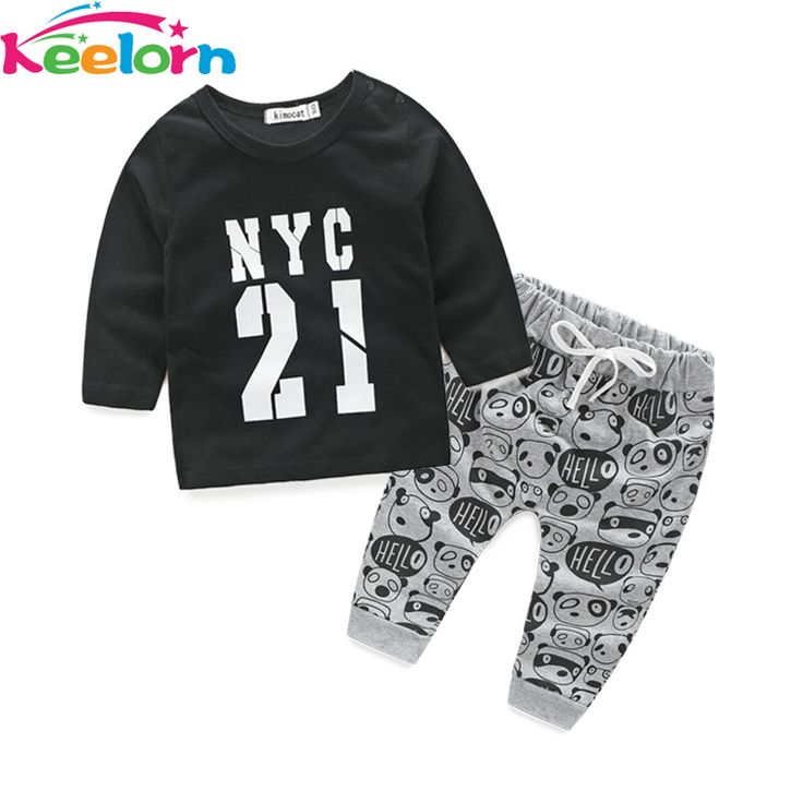 Keelorn новый стиль 2016 Осень детская одежда мультфильм Baby мальчиков девочек ребенка костюм с длинным рукавом T-рубашка +брюки 2шт Бесплатная доставка