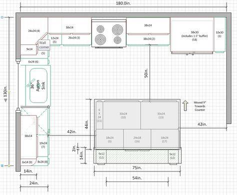 Kitchen Design Layout Floor Plans L Shaped 38 Ideas In 2020 Kitchen Floor Plans Kitchen Layout U Shaped Kitchen Layout Plans