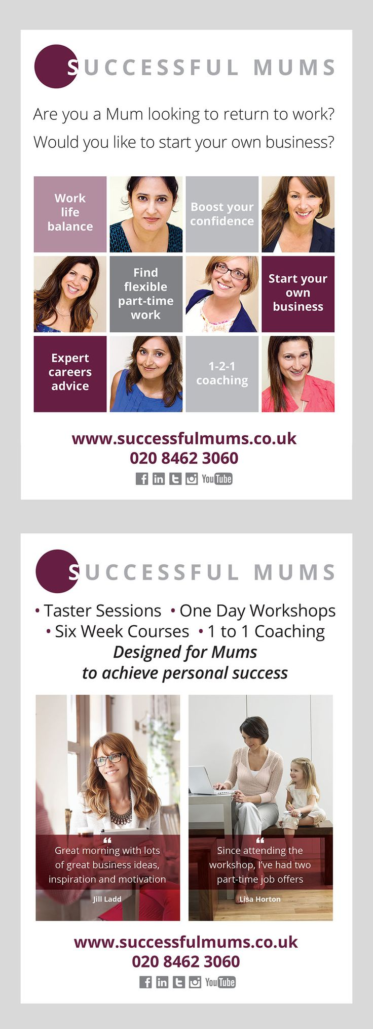 Successful Mums A4 and A5 double sided leaflet