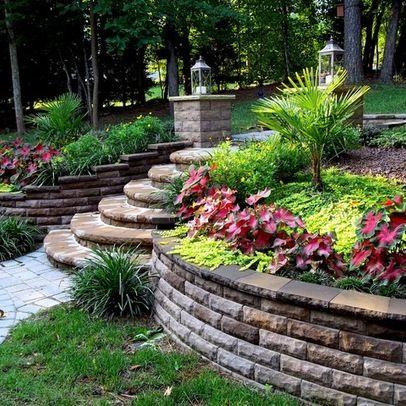 Sloped Backyard Garden Idea And Stone Retaining Wall Design