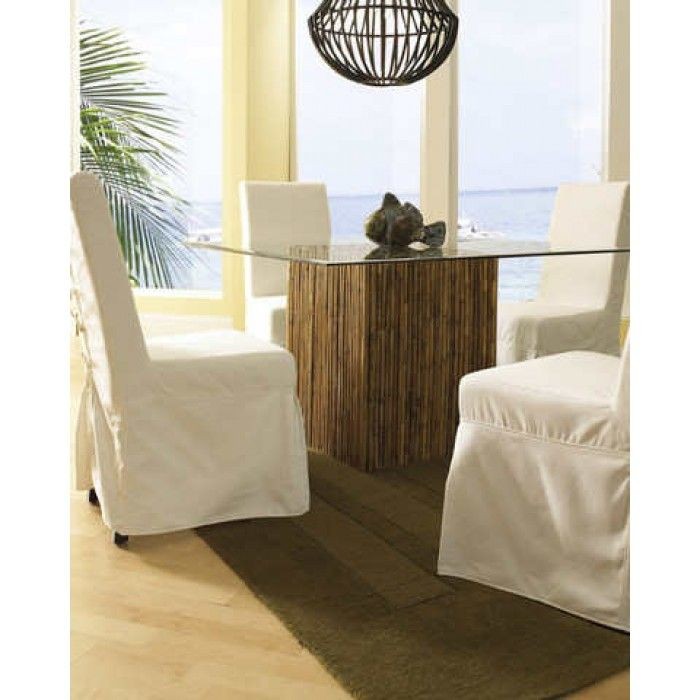 Bamboo Stick Dining Table Base With Glass ~ Pacific Home Furniture