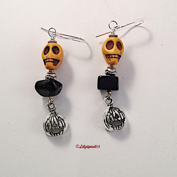 Orange Stone Halloween Bead Earrings, Gift for Her, Dangle, Drop Earrings, Party, Bohemian, Sugar Skull, Day of The Dead, Dia de los Muertos