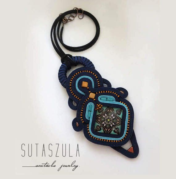 Navy blue copper turquoise necklace Statement by sutaszula on Etsy