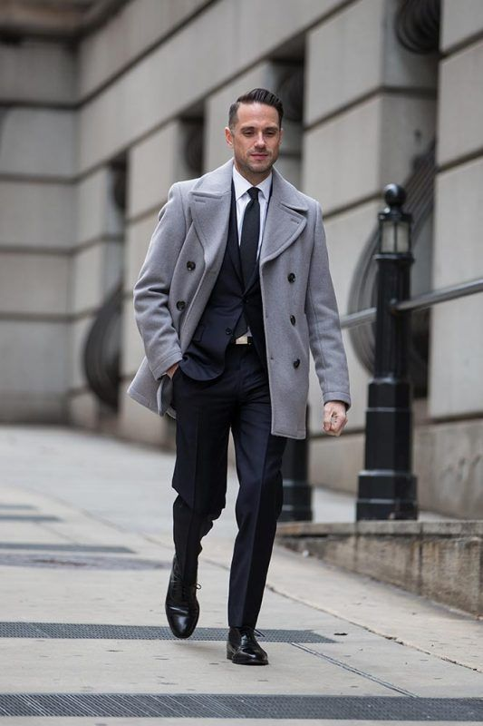50 Stylish Ways To Wear A Pea Coat For Men Gray Peacoat With Office