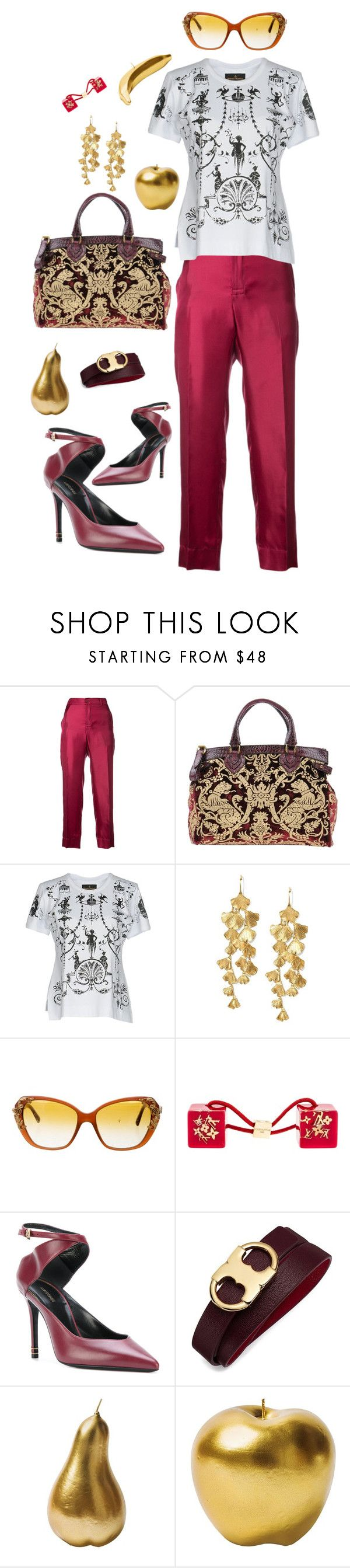 """Bold Gold Baroque"" by marcusv ❤ liked on Polyvore featuring F.R.S For Restless Sleepers, Roberto Cavalli, Vivienne Westwood Anglomania, Tory Burch, Dolce&Gabbana, Louis Vuitton and Bitossi"