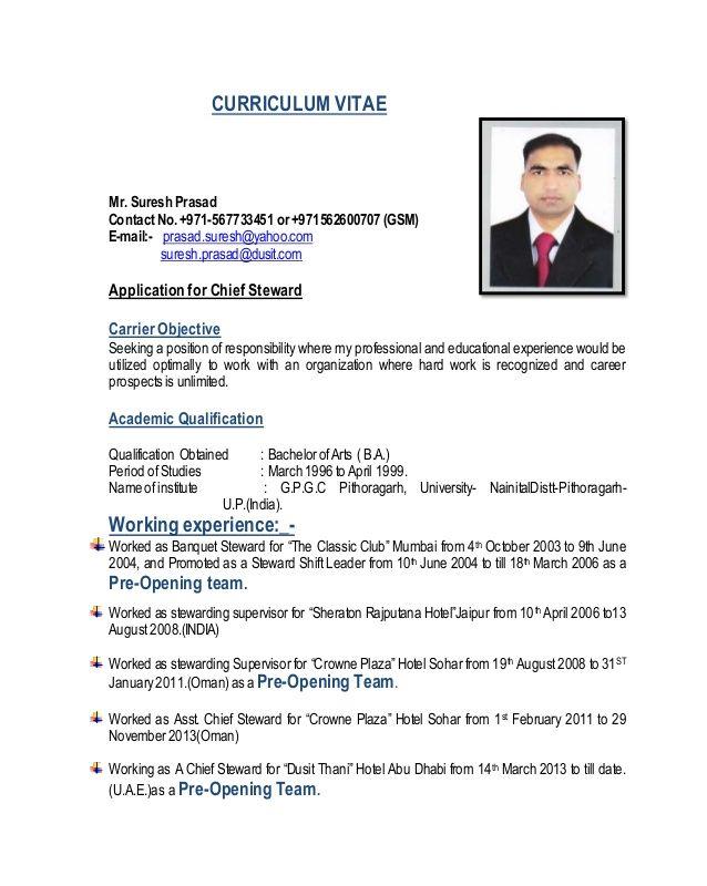 CURRICULUM VITAE  Mr. Suresh Prasad  ContactNo.+971-567733451 or +971562600707 (GSM)  E-mail:- prasad.suresh@yahoo.com  suresh...