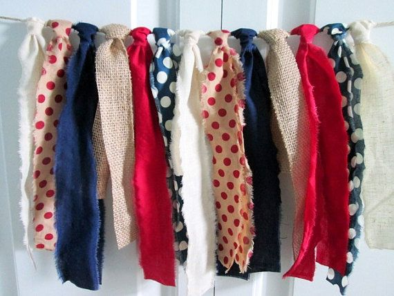 Rag Tie Fabric Banner Red White Blue Vintage by backyardprims