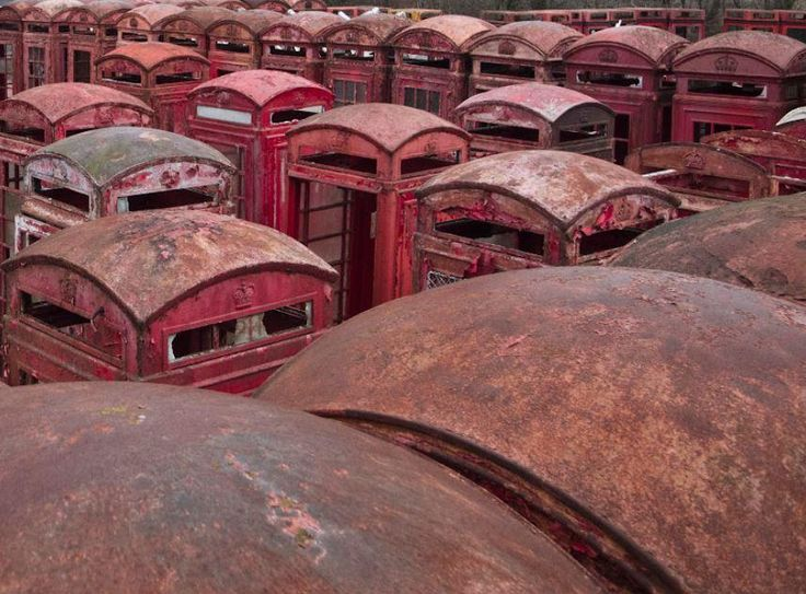 The red phone box graveyard... Fewer & fewer now.  If you had one what would u use it for? Fish tank?