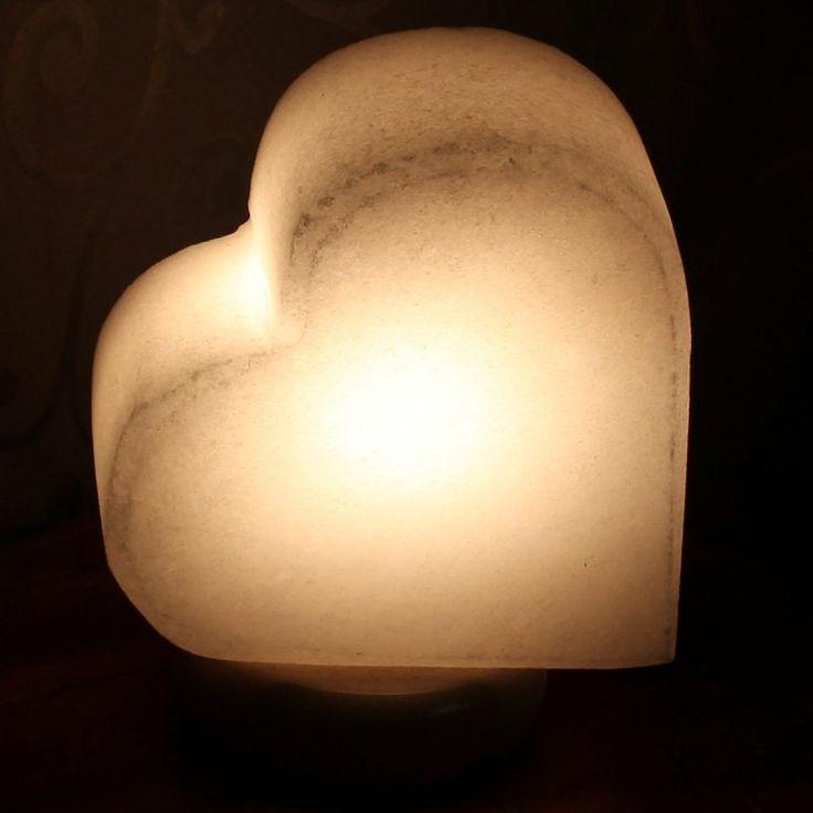 White salt Himalayan salt lamp sideways heart design