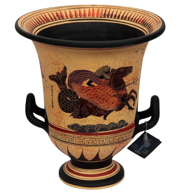 This pot is a classic museum`s copy. Handmade according to the traditional way and it`s manufactured entirely in Greece.  The crater was the vessel, which mixes water and wine and the word derived from (ancient greek)kerannymi, meaning to mix. Crater usually had round body, wide mouth, heavy base and handles bilaterally.  On the first side is Poseidon and on the second is Artemis and Semele.  more info: http://www.agalma.gr/index.php?id_product=19&controller=product