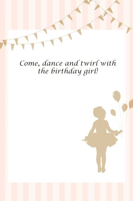 Free printable invitation - ballerina party... my daughter will absolutely have a ballerina party!! haha :)