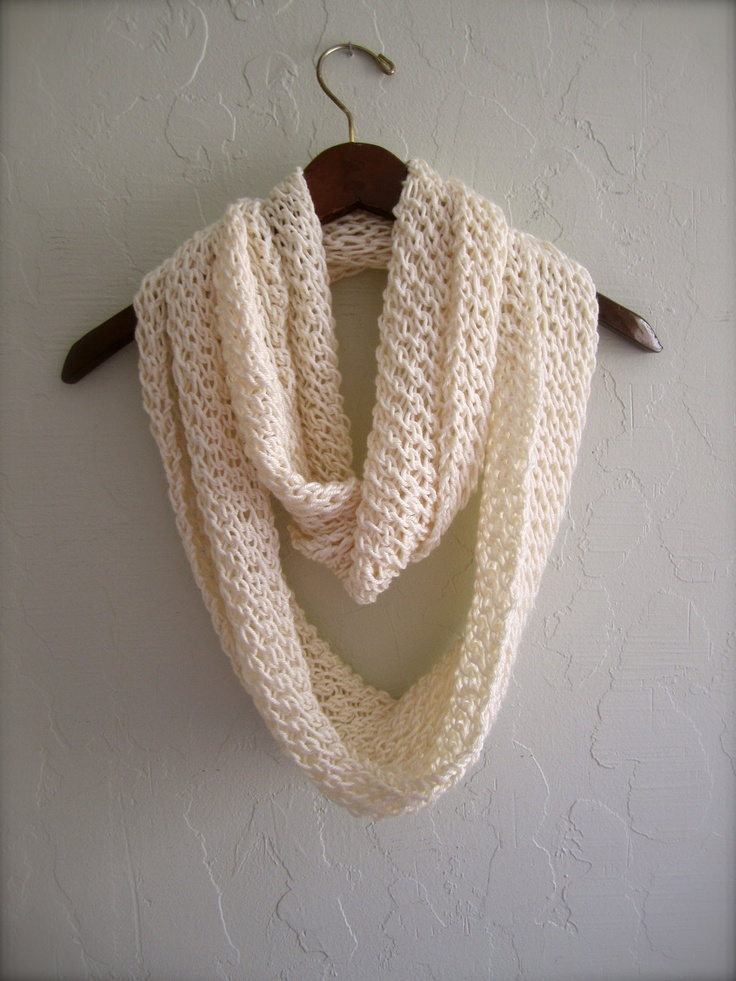 Ivory Infinity Scarf. Hand Knitted Scarf. Made to order scarves. Outerwear. Light weight scarves. Cream Scarves.. $19.99, via Etsy.