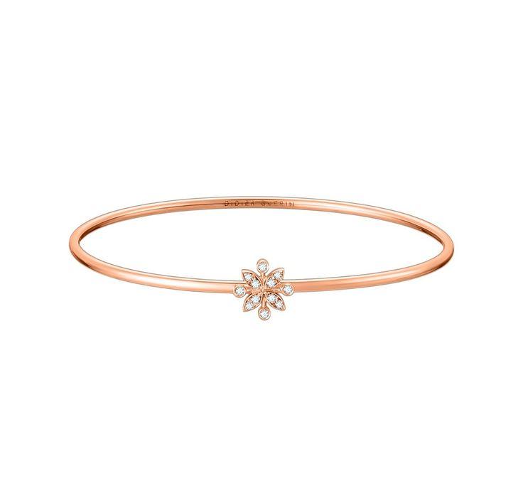 Bracelet Jonc Or Rose 750‰ avec Diamants