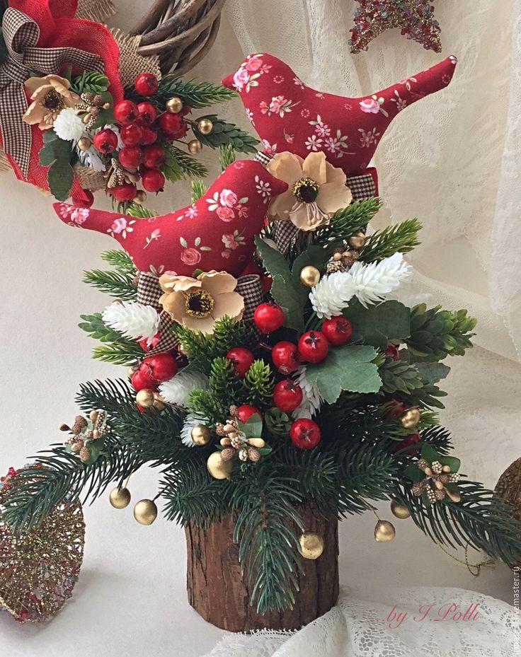 Купить Зимние пташки Новогодний интерьер - бордовый, птички, зимний букет, новогодний интерьер