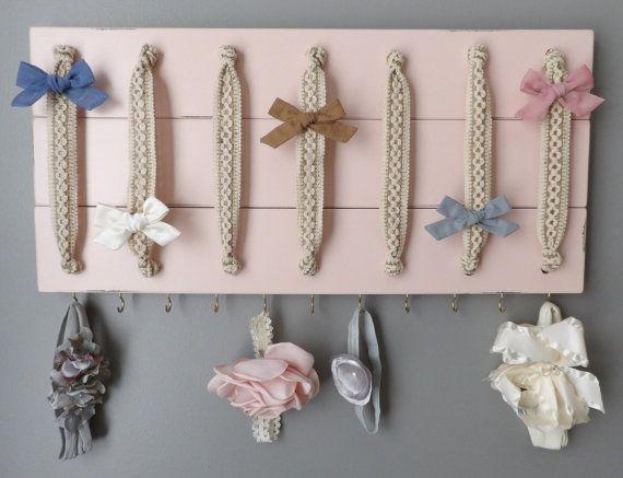 Hair Bow Holder Hair Bow Organizer Headband Holder Pink Headband Organizer Large Distressed Farmhouse Girl Nursery Decor Girl Shower Gift