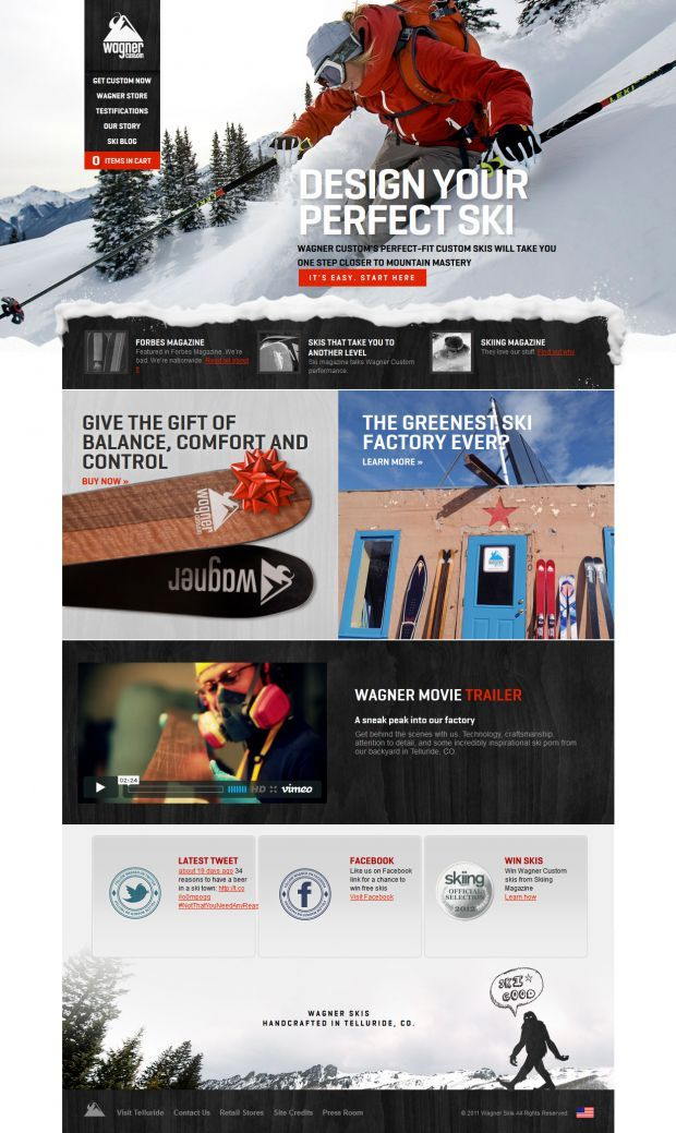 IMAGE IN FOOTER. BREAKS UP PAGE NICELY  Wagner Custom Skis - Best website, web design inspiration showcase http://www.niceoneilike.com