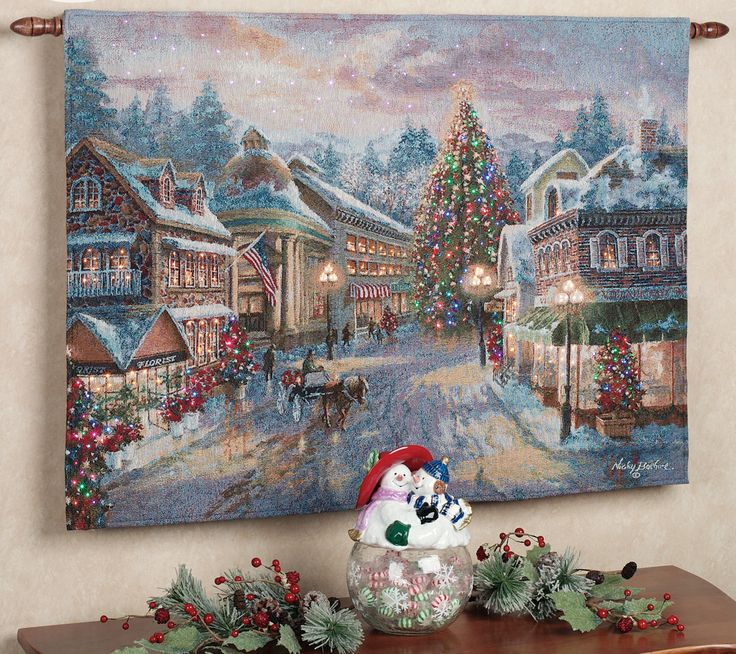 The christmas eve fiber optic tapestry wall hanging