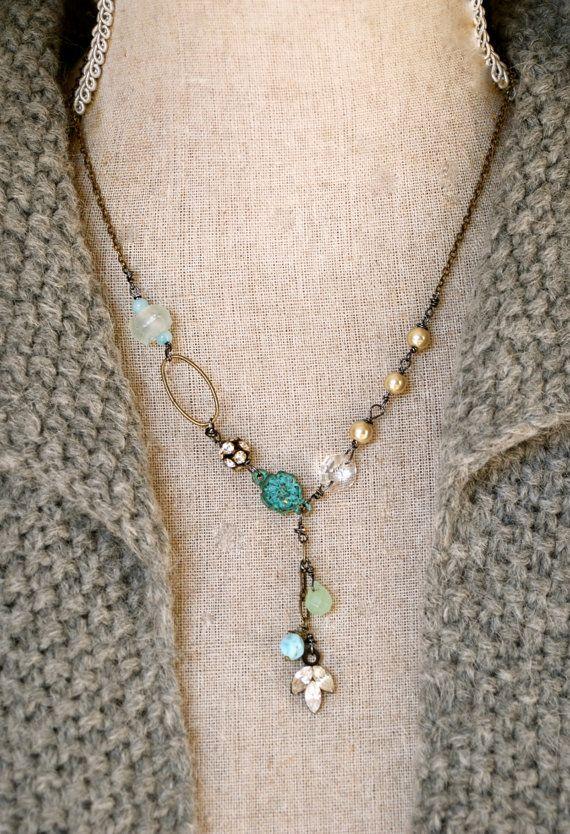 Collette.romantic,pearl.,semi precious stone,rhinestone drop necklace. Tiedupmemories