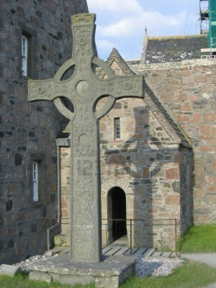 Celtic Cross in front of St. Columba's Chapel, Iona Scotland.