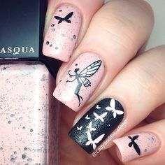 black and pink nail art designs 2016