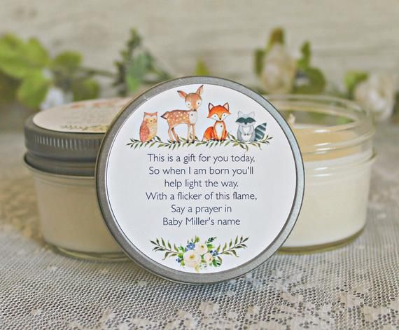 Woodland Baby Shower Favors / Set of 12 – 4 oz Candle Favors / Woodland Animal Favors / Fox Favors / Deer Favors /Gender Neutral Baby Shower