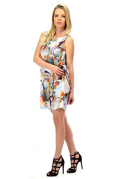 Hanita - Abiti - Abbigliamento - Abito in seta con stampa a fantsia, con scollo a drappeggio sul retro. - BIANCO\ARANCIO - € 225.00