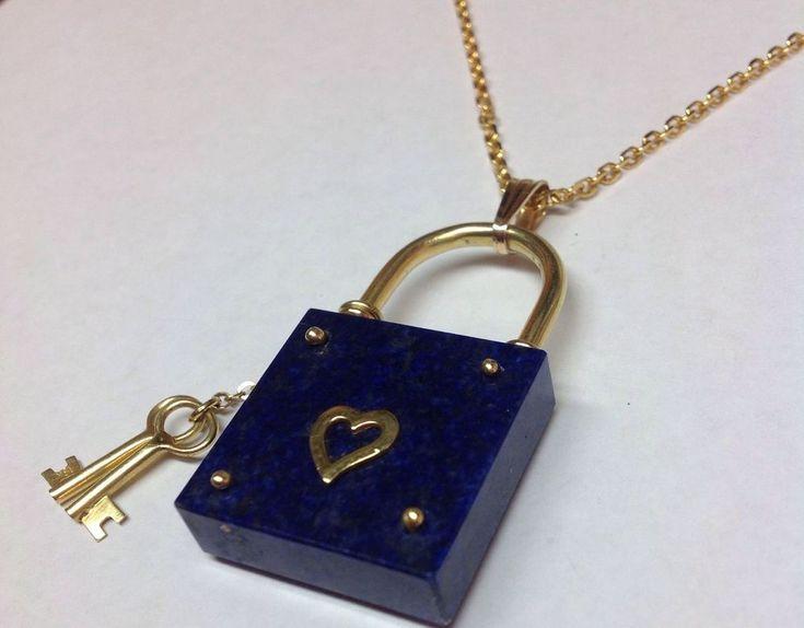 LAPIS HEART KEY LOCK 18K YELLOW GOLD NECKLACE OR PENDANT    eBay