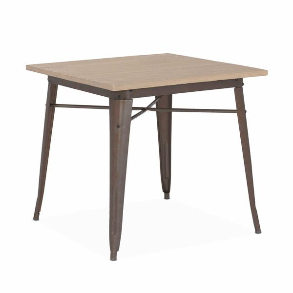 Amalfi Rustic Matte Plus Light Elm Wood Top Steel Dining Table 30 inches