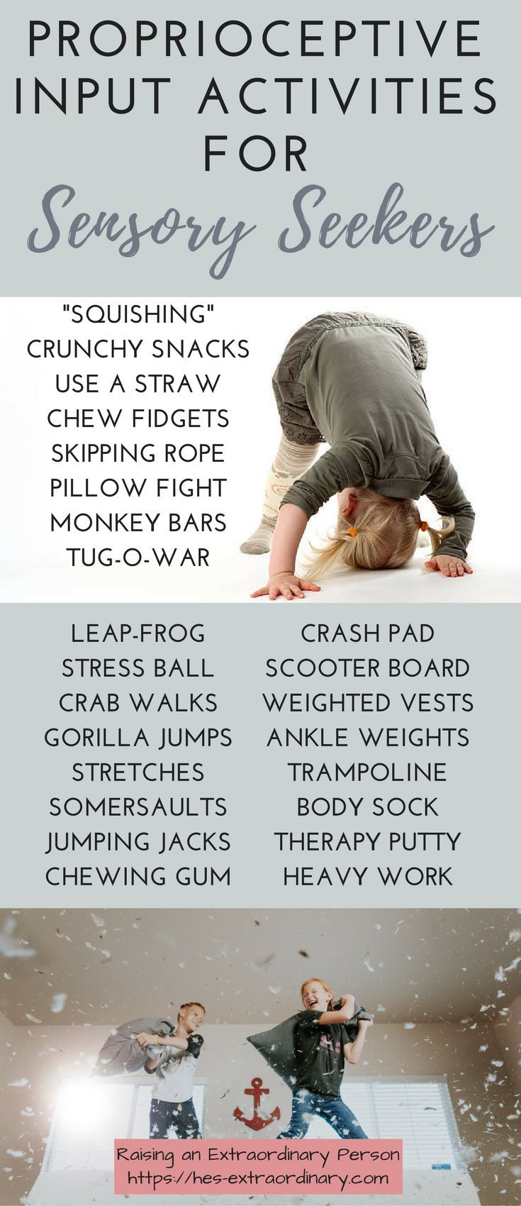 I'm going to share a little information on daily activities that you can do with your children to give them more proprioceptive input which can help tremendously with sensory seeking behavior. Also, take some time to read how you can improve emotional regulation in 7 minutes per day which includes tons of proprioceptive input activities.