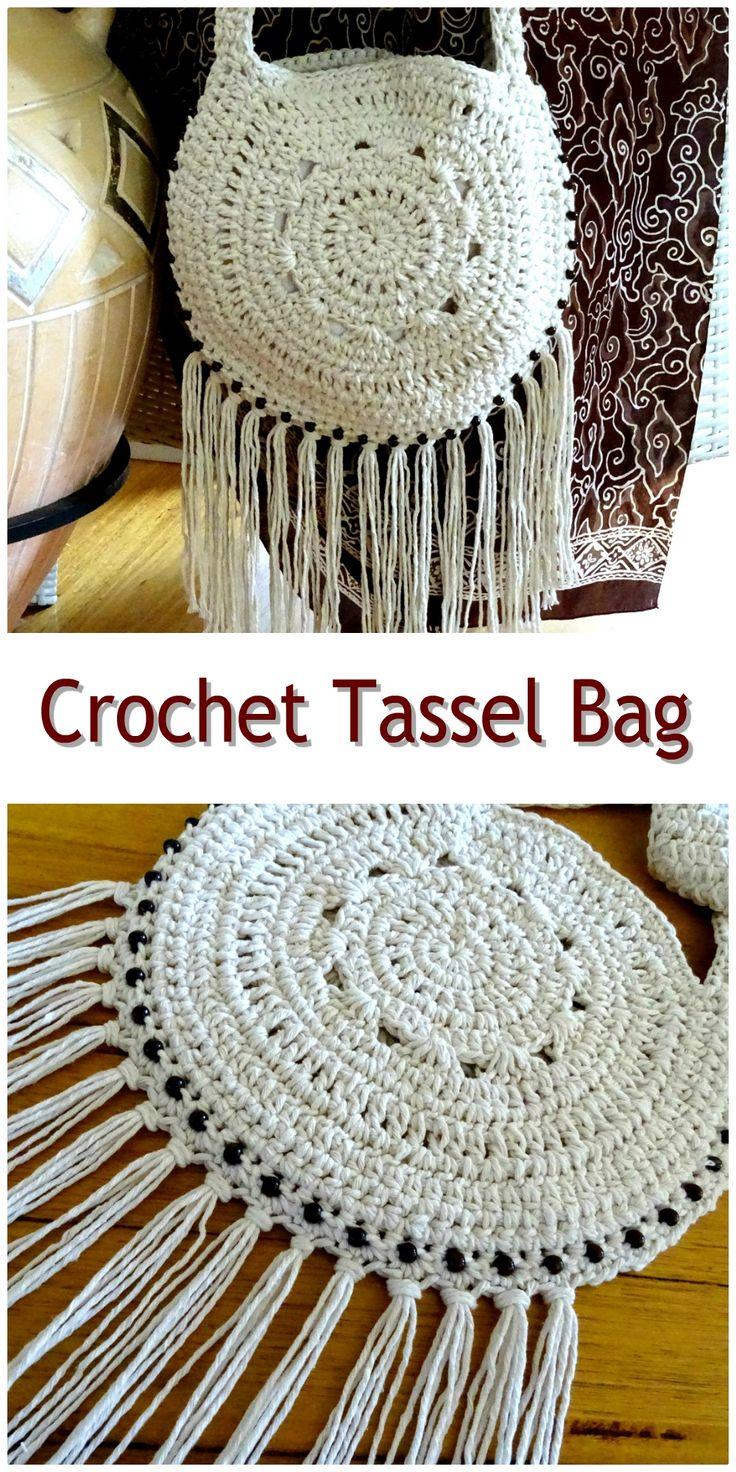 Crochet Tassel Bag | Fringed Boho Beach Bag | Festival Tote Bag | Handmade Womens Tassel Handbag | Womens Ladies Accessories