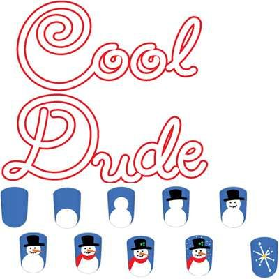 Cool Dude kid's nail art design featuring a snowman and snowflake, perfect for some winter fun.