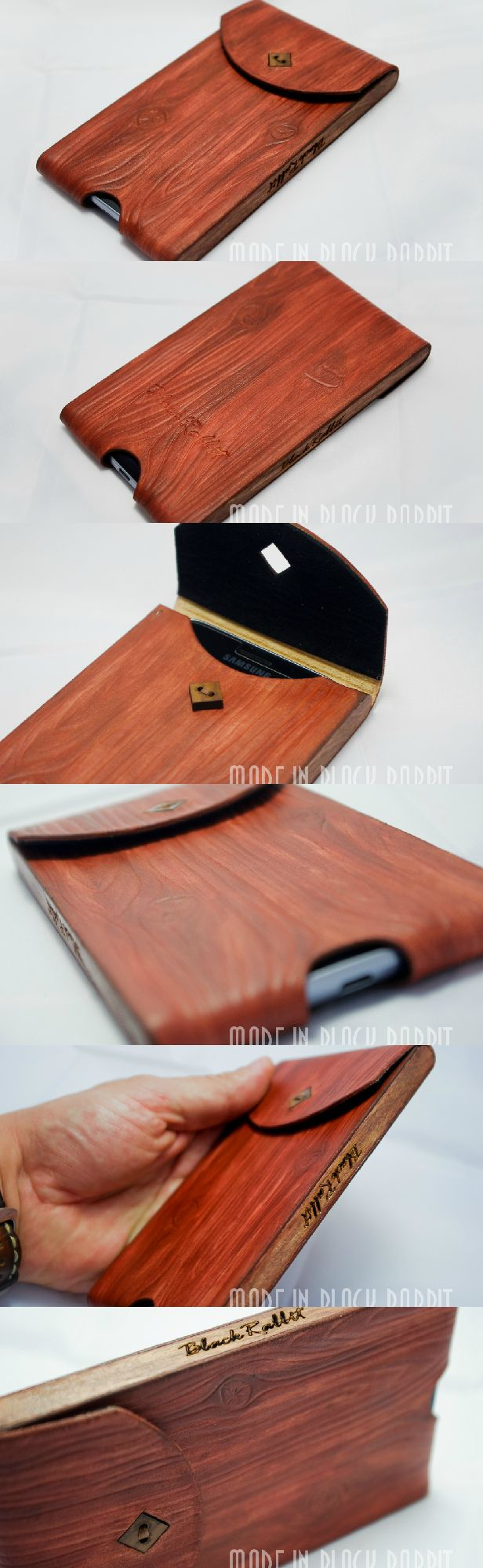 """Cover for my phone """"Sliver"""". Manual Embossed texture under the tree. Shade of color may be different. Feature of the products that bokovinki made of wood. Button also under the tree. Vegetable tanning of leather, approximately 2 MM. Color - fully manual. From the top of the product is covered by apreturoy for your skin """"Finish"""" the production of Italy, so the paint doesn't oblezayut not wiped off and don't clean. It's a great gift for any celebration or just like that.  #leather #leathercase"""