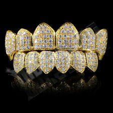 18K Gold Plated High Quality CZ Vampire Fang Top Bottom GRILLZ Mouth Teeth
