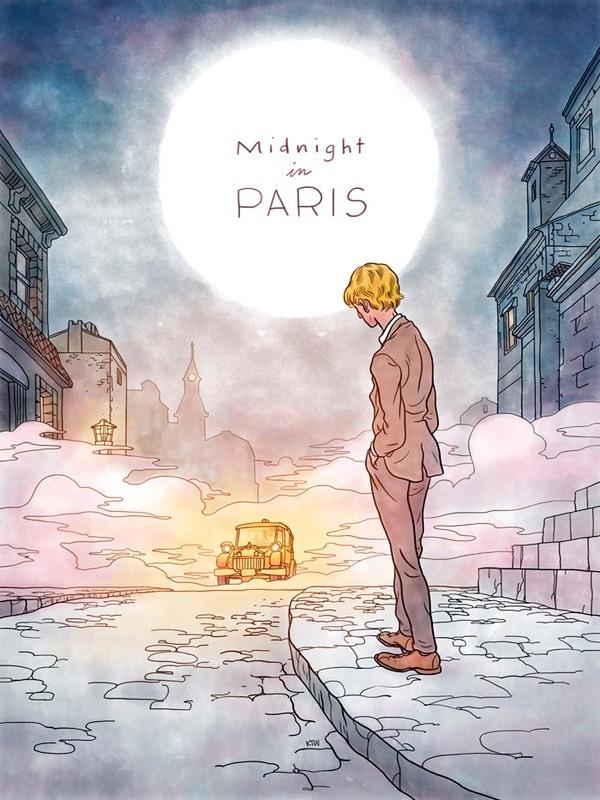 poster remake, midnight in paris.