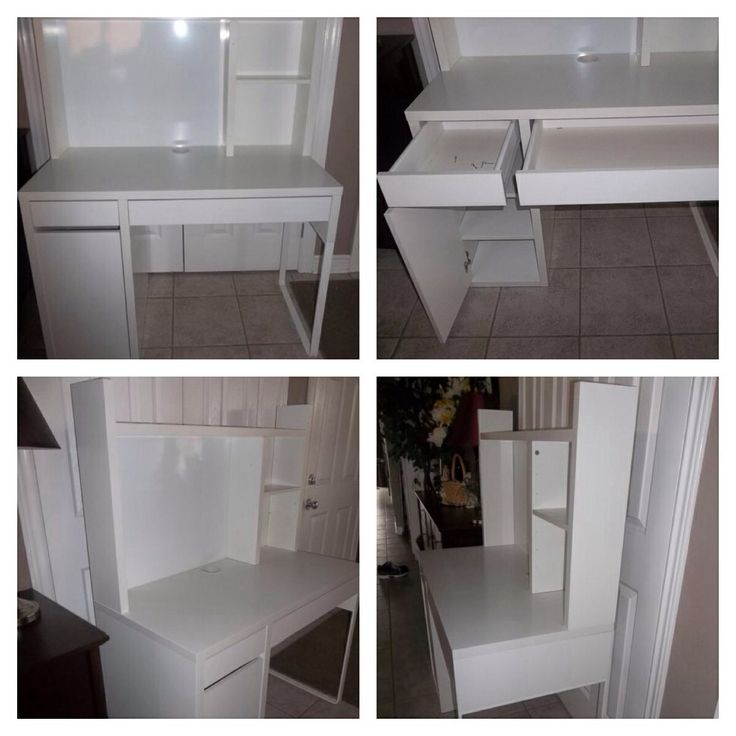 "White IKEA Micke Desk & Hutch Excellent condition. 2 pc desk & storage unit in a hard wearing white melamine finish. Drawers easily slide on metal rails and cupboard has strong hinges. Has magnetic writing board (dry erase) on the back panel  Would also be great in a bedroom as a make-up vanity. Retails at Ikea for $140+tax. product dimensions Width: 41 3/8"" Depth: 19 5/8"" Height: 55 1/8"" $85"