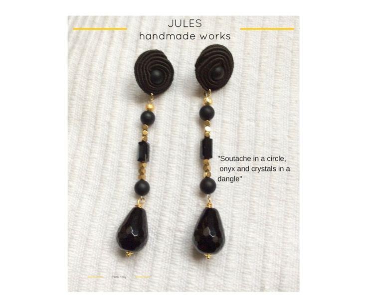 Orecchini pendenti SOLE di Jules Handmade Works, fatti a mano con tecnica soutache con cristalli e pietre dure by JulesHandmadeWorks on Etsy