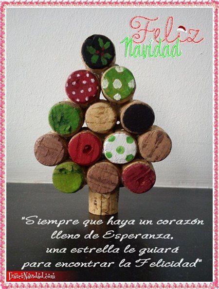 Tarjetas navideñas con arbolito de corcho » http://frasesnavidad.com/tarjetas-navidenas-con-arbolito-de-corcho/ #Tarjetas #Navidad