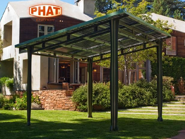 GGGGG freestanding solar structure: patio canopy or carport. PHATport from PHAT Energy in LA: pre-fab, stand-alone steel structure topped w/Sanyo double bi-facial solar panels.translucent panels allow 15% light 2 penetrate providing cool shade in full sun while generating up 2 2.5 kilowatt-hours of energy, enough 2 power electric car or make significant difference in power needs of typical home.Trick out w/fans lights outlets & stereos w/wires hidden in structure's columns & beams