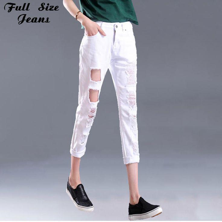 Summer Design Plus size Loose Ripped White Cropped Jeans 6XL 4XL XXS Femme Denim Women High Waist Ripped Capris Jeans Woman Jean