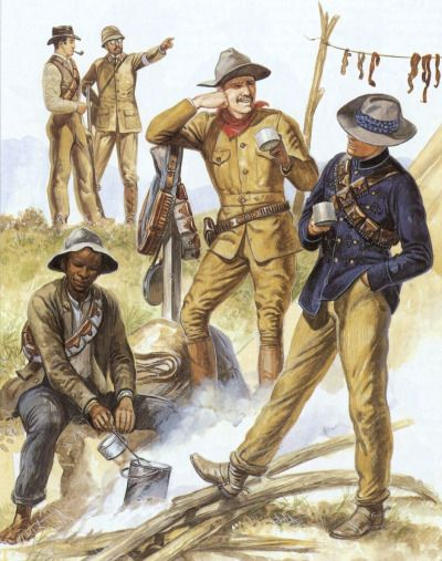 Boers, Second Boer War African agyterryer.   Both sides made extensive use of African laborers and scouts, whilst maintaining the myth of 'the white man's war'.  Volunteer, 'Chicago Irish-American Corps', Blake's Irish Brigade.