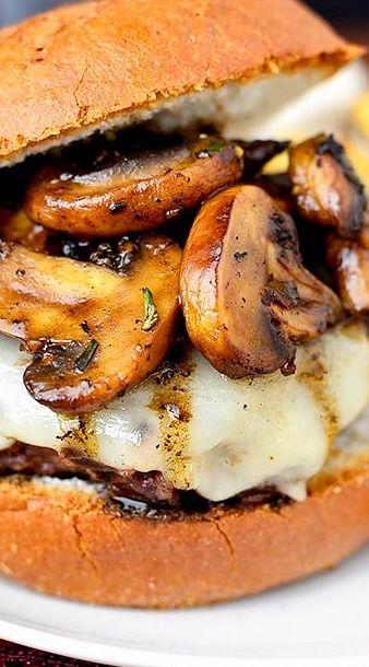 Swiss Pan Burgers with Rosemary-Mushroom Pan Sauce - Iowa Girl Eats