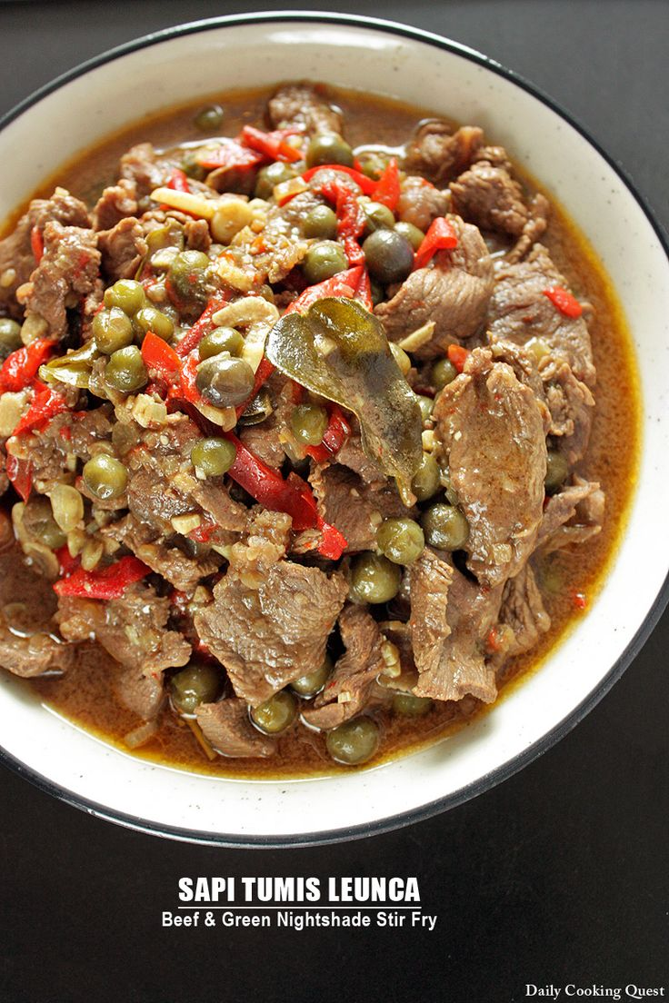 Sapi Tumis Leunca - Beef and Green Nightshade Stir Fry