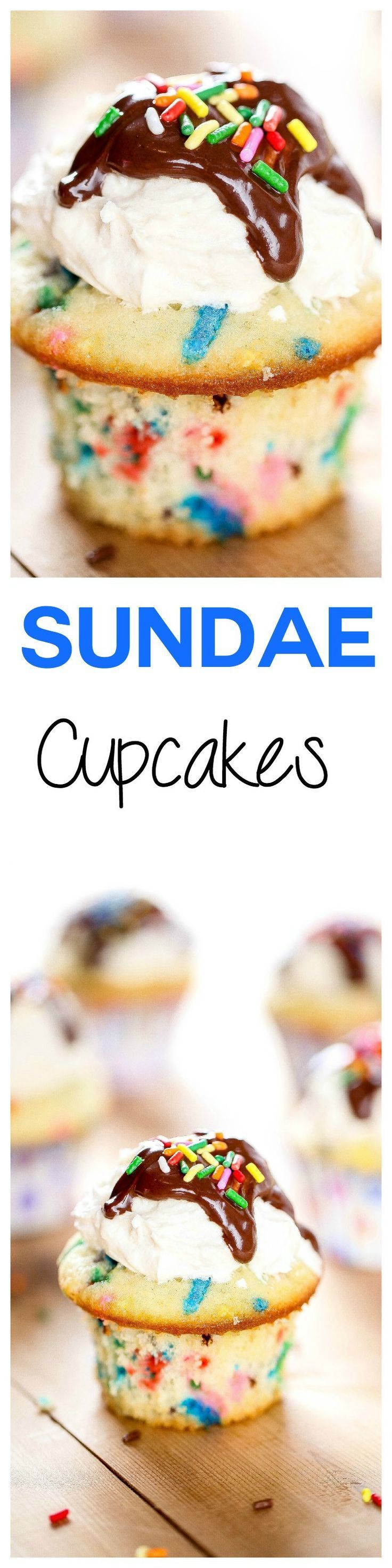 Ice Cream Sundae Cupcakes: Moist vanilla cupcakes topped with sweet buttercream and rich chocolate. They look AND taste just like cake batter ice cream. The cutest birthday idea ever!