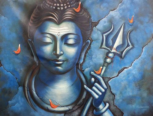 "SHIVA MEDITATES Artist : Madhusudan Size(h"" x w"") : 52x42"