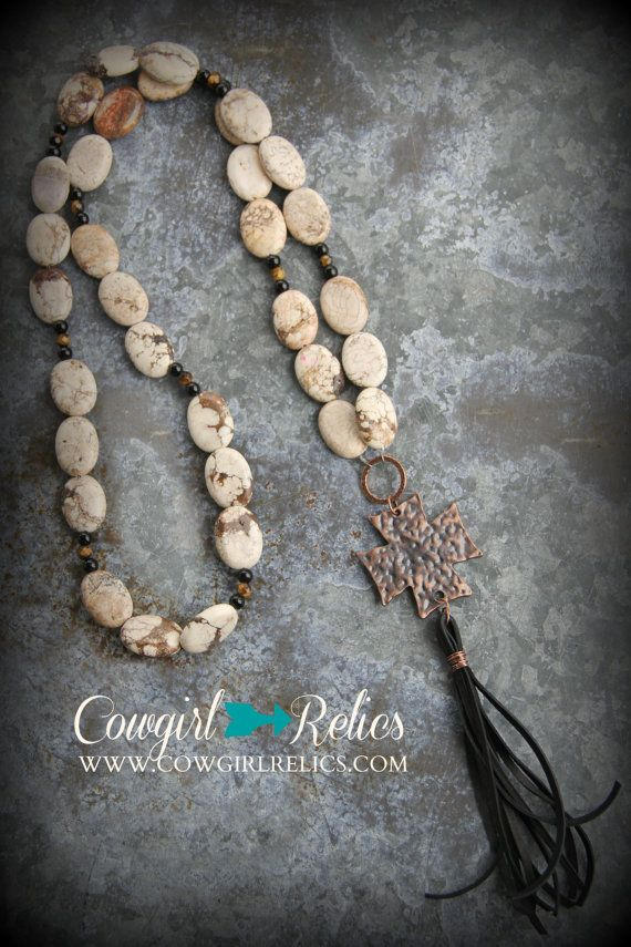 8 best kruis images on pinterest cross necklaces jewelery and boho style western necklace white magnesite copper cross black leather tassel mozeypictures Image collections