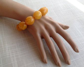 Amber beaded antique old color bracelet 10 big olive shape beads 20 mm x 23 mm, Baltic pressed amber massive jewellery الكهرمان