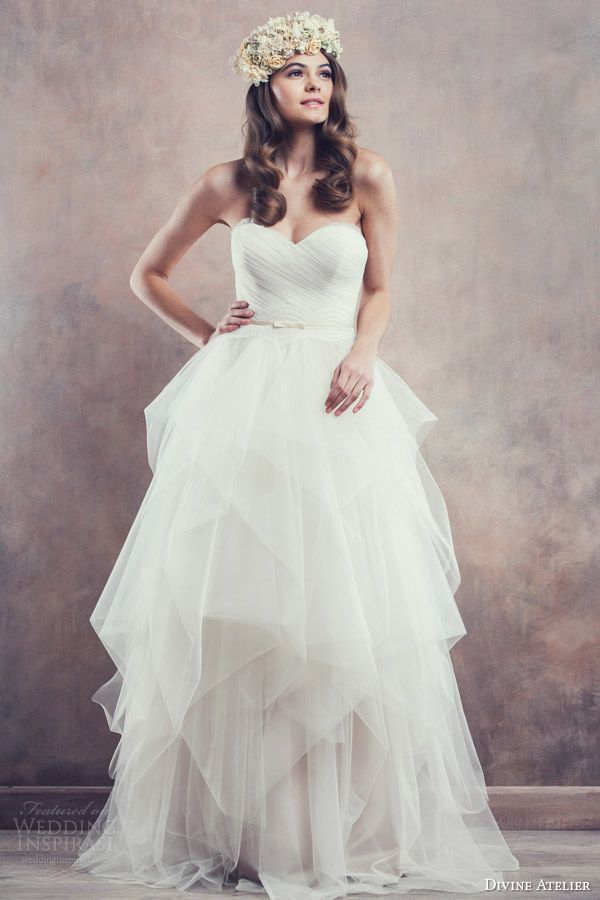 Amber strapless gown with Chantilly lace edged neckline from Divine Atelier's dreamy 2014 Poetica bridal collection