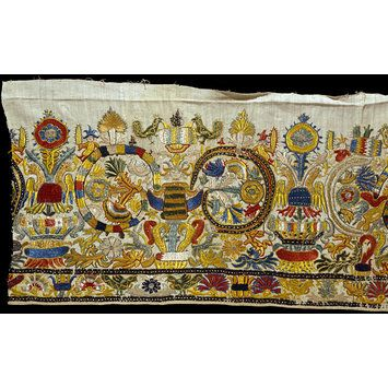 Border Crete, Greece Date:1600s (made) Materials and Techniques: Linen and cotton (fustian) embroidered with silk thread