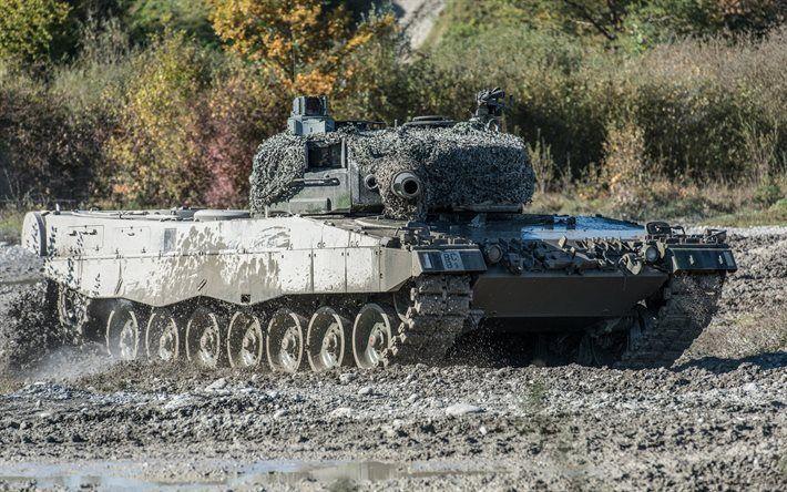 Scarica sfondi Leopard 2, Battle Tank, Germania, poligono, carri armati tedeschi