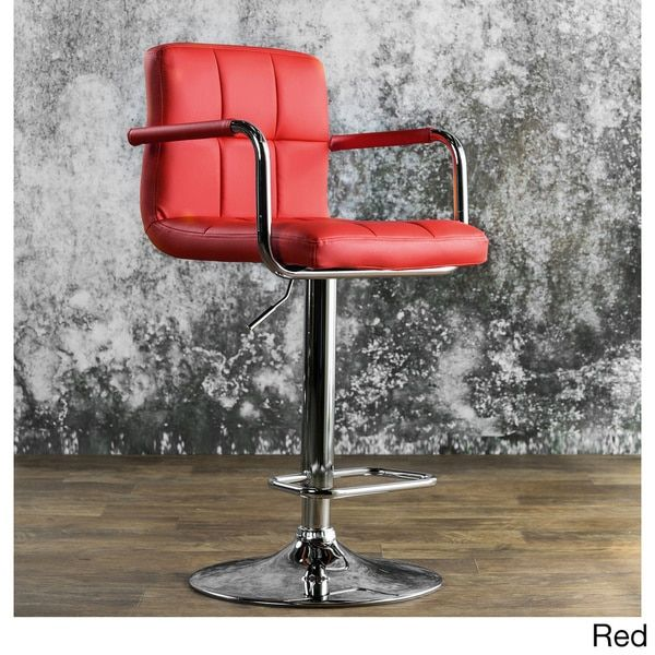 This versatile modern bar stool sports colorful, comfortable upholstery and a slick silvertone frame for a dynamic look at your breakfast bar or pub table. Featuring a stylish tufted design, this leat